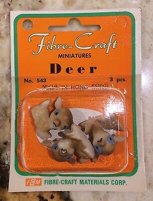 Vintage Fibre-Craft Miniature Fawn(3) L Petite Baby Deer Figurine With Blue Eyes