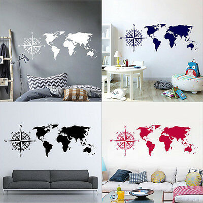 New Removable World Map Compass Wall Sticker Mural Study Room Office Home Decor