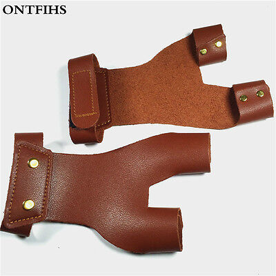 Left Hand Protection Archery Fingertabs Brown Leather Fingerguards Outdoor