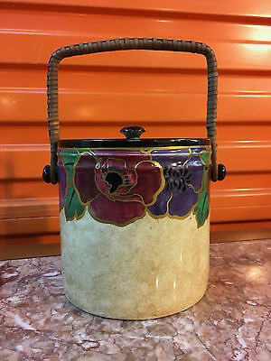 "Vintage English Art Deco Regal Ware Hand Painted ""Poppy"" Biscuit Barrel"