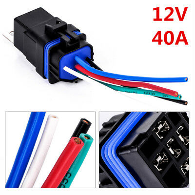 12v 40A 4 Pin Waterproof Integrated Wired Auto Relay + Holder With Wires