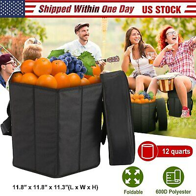 Collapsible Insulated Picnic Camping Cooler Seat Stool Combo Organizer Container