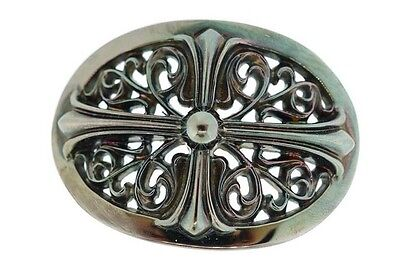 AUTHENTIC Chrome Hearts Classic Oval Cross Belt Buckle Coated In Rhodium - RARE!
