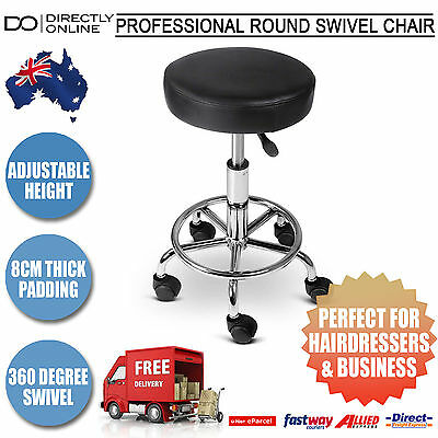 Round Swivel Chair Salon Stool PU Leather Black Hairdressing Beauty Therapy New