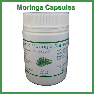 Moringa Capsules Certified Organic 100/200/400 Capsules Free Delivery