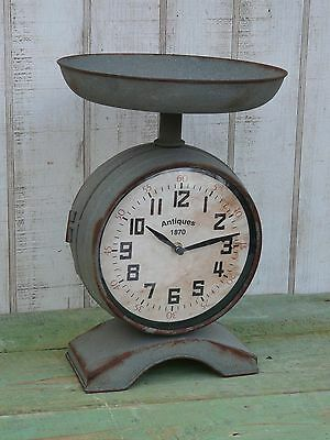 Primitive vintage style metal galvanize two sided scale clock country home decor
