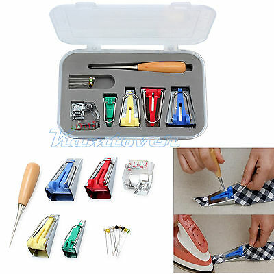 16Pcs Fabric Bias Binding Tape Maker Kit Binder Foot For Sewing & Quilting + AWL