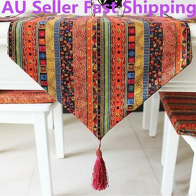 200cm x 32cm Cotton Linen Striped Table Bed Runner Cloth Home Wedding Decoration