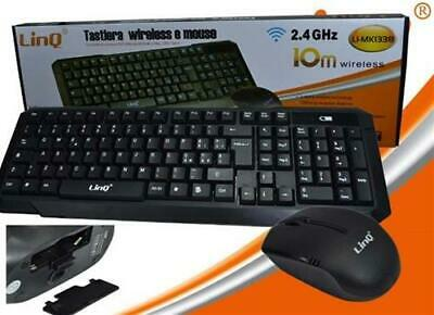 KIT MOUSE E TASTIERA LINQ WIRELESS 2.4GHz DESKTOP WI FI USB mk1338