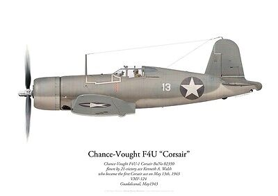 Print F4U-1 Corsair, Kenneth Walsh, VMF-124, Guadalcanal, 1943 (by P. Mehard)