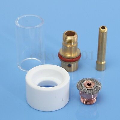 """5PCS Pyrex TIG Torch Cup Gas Saver Kit For 2.4mm 3/32"""" Torch WP17 18 26 Parts"""