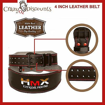 Weight Lifting 4 Inch Leather Gym Belt Support Training BodyBuilding Fitness M