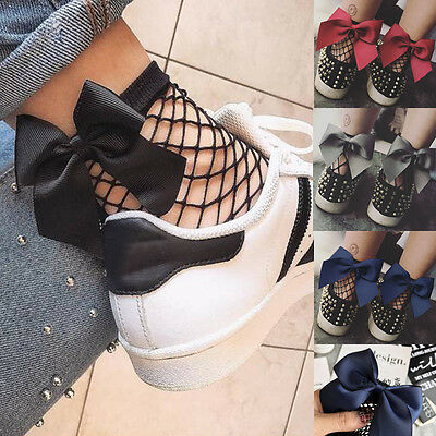 USA Fashion Women Ruffle Fishnet Ankle High Socks Mesh Lace Fish Net Short Socks