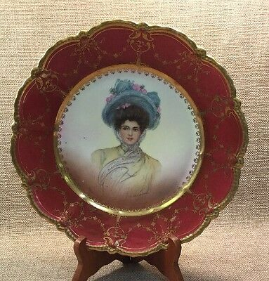 SCHWARTZBURG HAND PAINTED & Gilt Porcelain Cabinet Plate 3 Chips On Back
