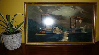 Framed Print Midnight Race On The Mississippi by Currier & Ives - Vintage