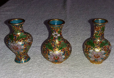 Three Vintage Miniature Chinese Cloisonne Enamel Vases with Floral Decoration