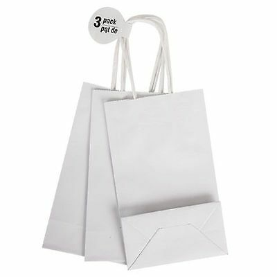 Plain White Gift Bags - Set of 3 Medium - Decorate Party Bag Paper Twist Handle