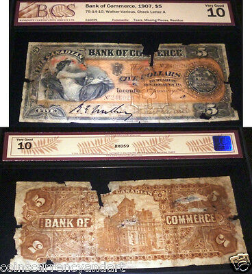 1907 $5 Bank Of Commerce,canada