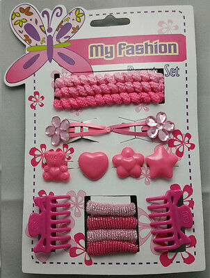 Girls Hair Accessory Set Clips Slides Bands Grips Bobbles Flowers Hair Bow