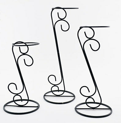 Hat Stands - Set of Three Black Matte Wire