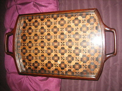 Small Edwardian Mahogany Glass Topped Tray With Inlaid Marquetry
