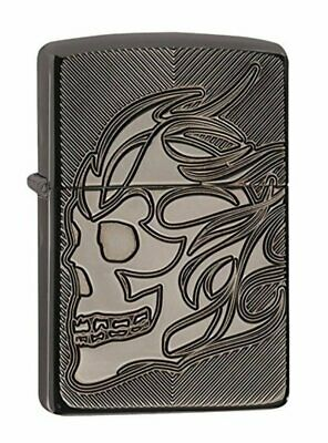 Zippo Armor, Black Ice Pocket Lighter, Deep Carve Skull #29230