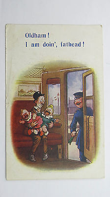 WW1 Bamforth Comic Postcard No 810 Oldham Railway Station Platform Guard Train