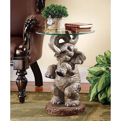 "Design Toscano Exclusive 21½"" Good Fortune Elephant Sculpture Glass Topped Table"