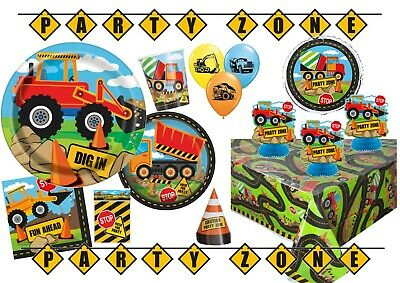 Construction Party Digger Road Theme Birthday Plates Napkins Balloons Tableware