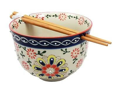 Japanese Four Seasons Ramen Udong Noodle Soup Bowl and Chopsticks Set (SPRING)