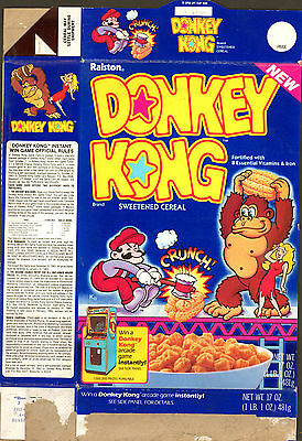 Complete 1983 Donkey Kong Cereal Box   [Video Game Box]  Fm Ralston Cereal