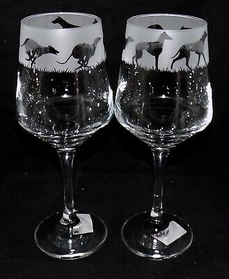 "New Etched ""GREYHOUND"" Wine Glass(es) - Free Gift Box - Large 390mls Wine Glass"