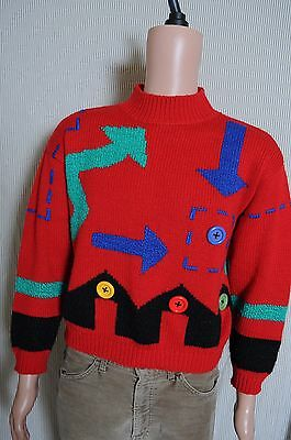Vintage '80s Women's Red Retro geometric acrylic sweater 16th Street M