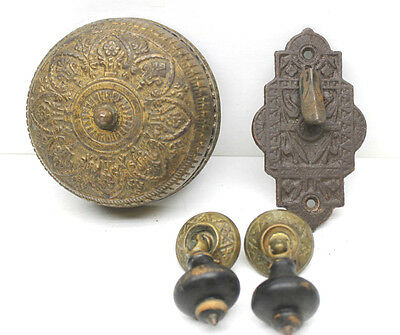 Victorian Entry Through Door Metal Doorbell Ringer Parts+2 Free Wood Door Pulls