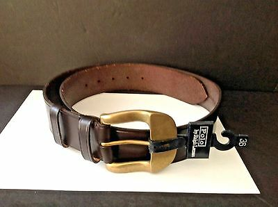 NEW Ralph Lauren Mens Size 36 Made In ENGLAND Black Leather Brass Buckle Belt