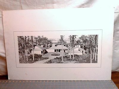 Vintage Mid Century Modern Home Architect Architectural Pen Ink Drawing