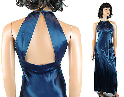 Zum Zum Prom Gown Jrs S Vintage Long Sleeveless Dark Blue Satin Open Back Dress