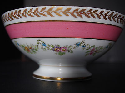 Antique Limoges Ovington Pink Hand Painted Garlands Bows Swags Nut Candy Bowl