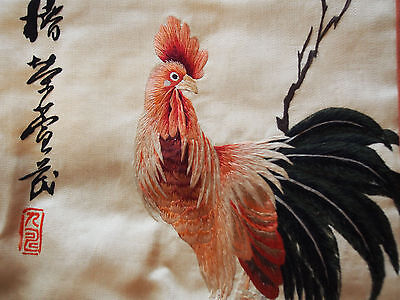 Fine ANTIQUE Old Chinese Rooster Cock Bird Flowers Hand Embroidery Silk Panel
