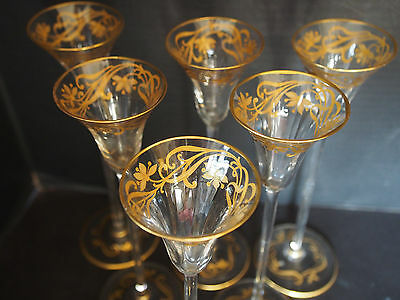 "6 Antique France Art Deco Raised Gold Encrusted Crystal 8"" TALL Shot Stem Glass"