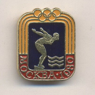 1980 Swimming Summer Xxii 22 Olympic Games Moscow Ussr Russian Pin Badge