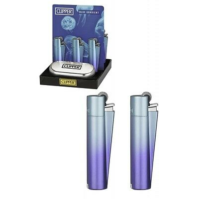 CLIPPER METAL BLUE GRADIENT Lighter with Silver Gift Tin LIMITED EDITION NEW!