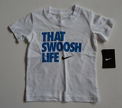 Nike Toddler kids shirts - That Swoosh Life - White - Sizes 2T 3T 4T  New Tags