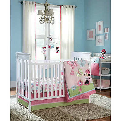 Disney Minnie Mouse Butterfly Charm 5 Piece Crib Bedding Set W Mobile