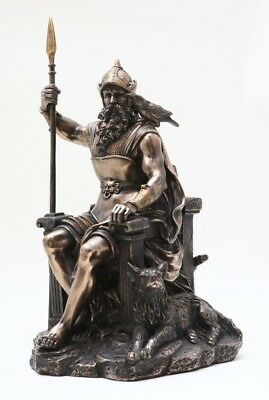 Viking Chief God Odin Statue AlFather Ruler of Asgard on Throne Figurine
