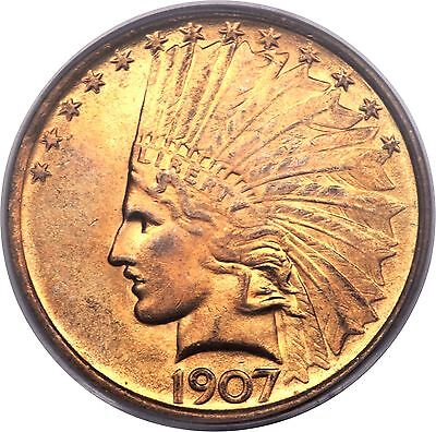 1907 $10 Indian Head Eagle Gold Coin Ms63 Pcgs No Motto No Periods Ten Dollars!!