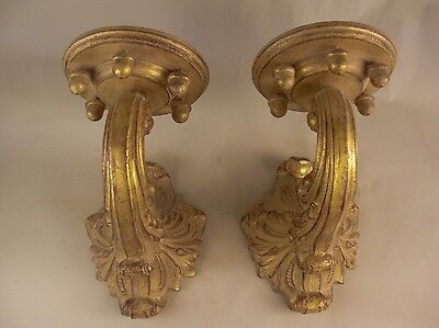 Gold Gilt Wood Plaster Acorn Rococo Wall Bracket Sconces French Grand Tour Style