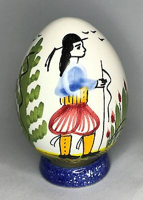 Henriot Quimper Decorative Egg with Base Hand Painted Breton Pottery France HB