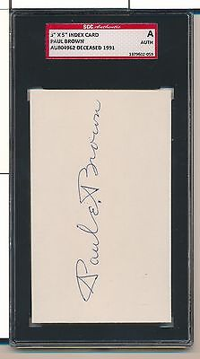 Paul Brown Signed 3X5 Index Card Cut Signature Auto D. 1991 Sgc Auth Sa076