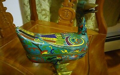 Very Beautiful Vintage Chinese Cloisonne Figural Duck.8×7.5inch